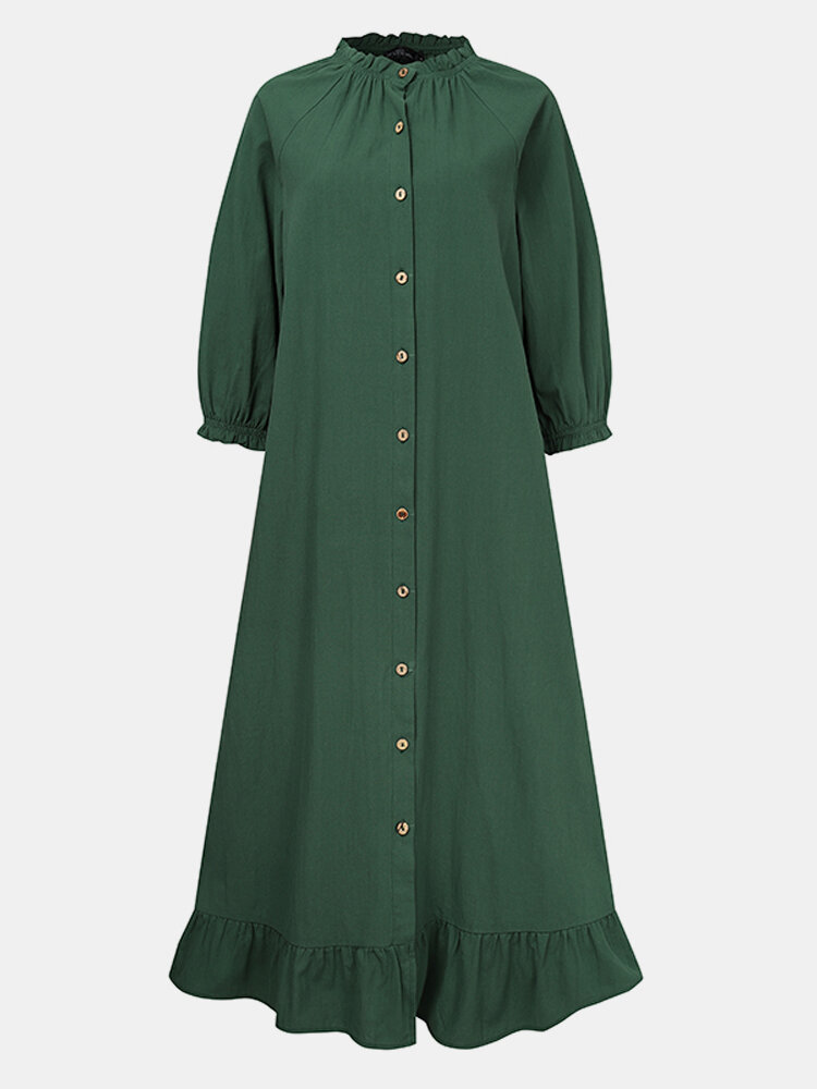 Solid Color Button Ruffled Neck Hem Long Sleeve Casual Dress For Women