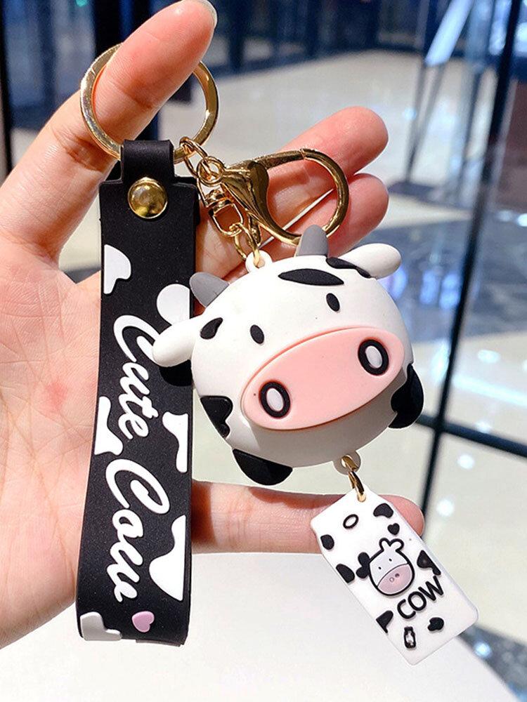 Resin Alloy Cartoon Cute Cow Keychain Charms