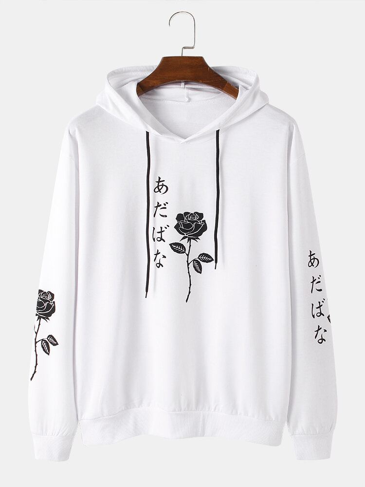 Mens Rose Japanese Character Print Cotton Casual Drawstring Overhead Hoodies