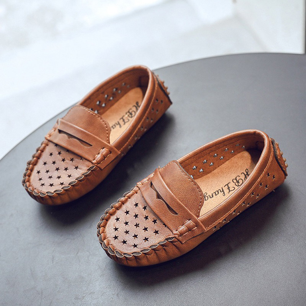 Boys Star Decor Hollow Breathable Comfy Bottom Slip On Lazy Flat Shoes