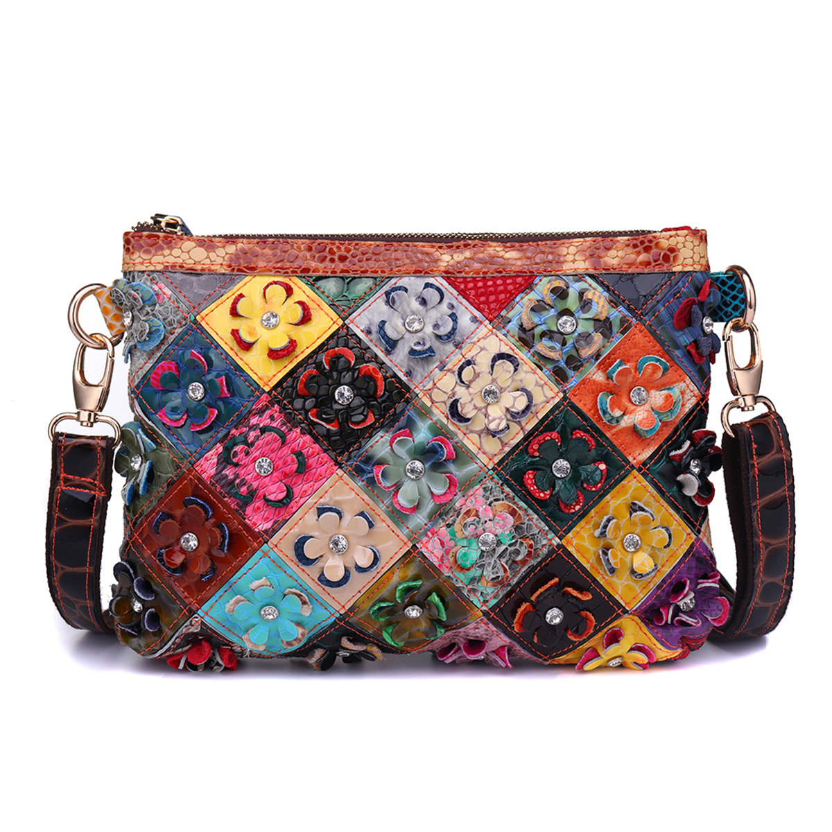 Women Flower Decorational Genuine Leather Patchwork Shoulder Bags Crosbsody Bags