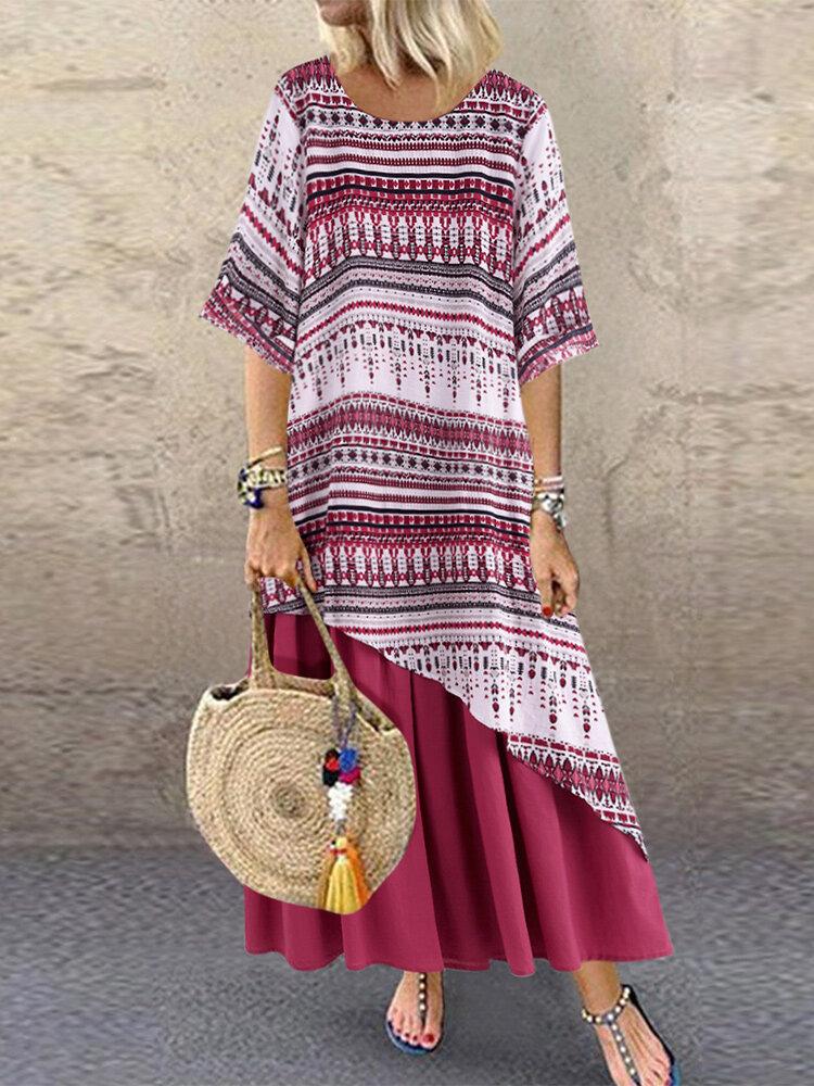 Summer Print Patchwork Double Layer Plus Size Dress