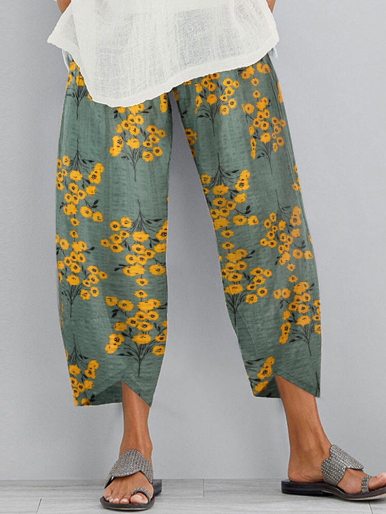 Flowers Print Elastic Waist Plus Size Casual Pants