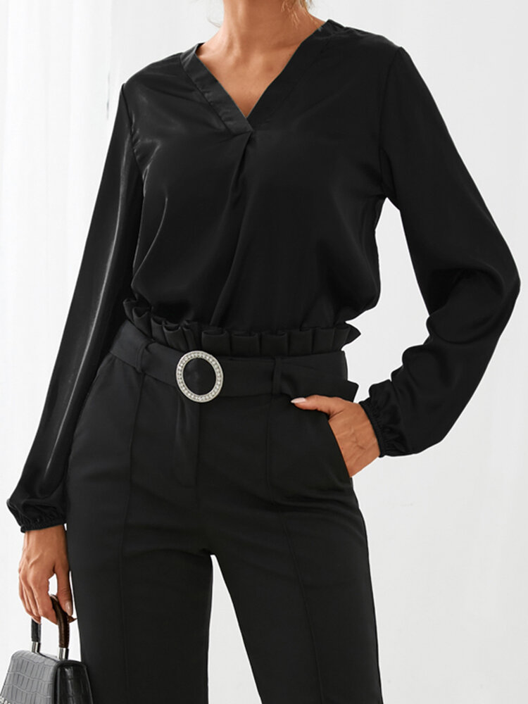 Solid Color V-neck Lantern Sleeves Casual Blouse For Women