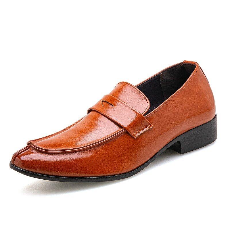 Men Slip Resistant Slip On Pure Color Leather Casual Dress Shoes