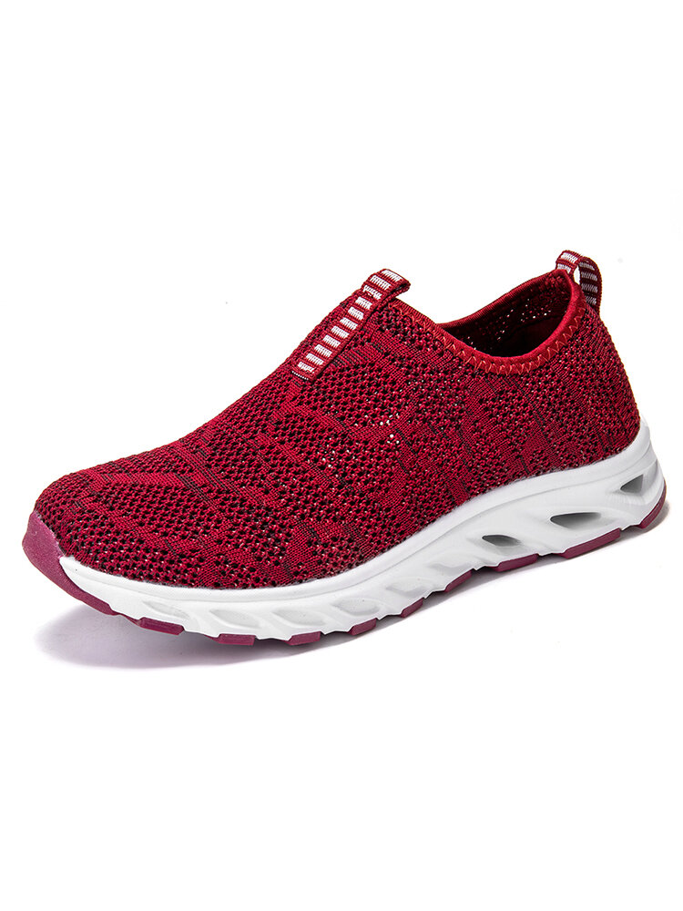Women Breathable Knitted Soft Sole Slip On Walking Sneakers