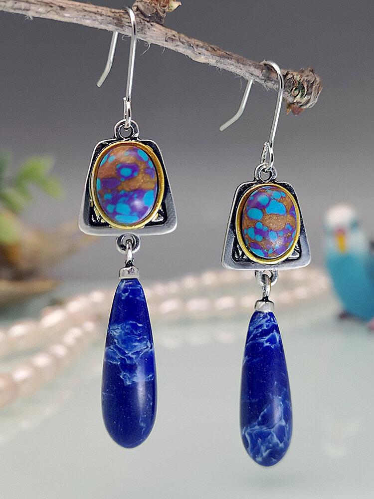 Alloy S925 Turquoise Bohemian Gemstone Drop Antique Lapis Lazuli Swing Earrings