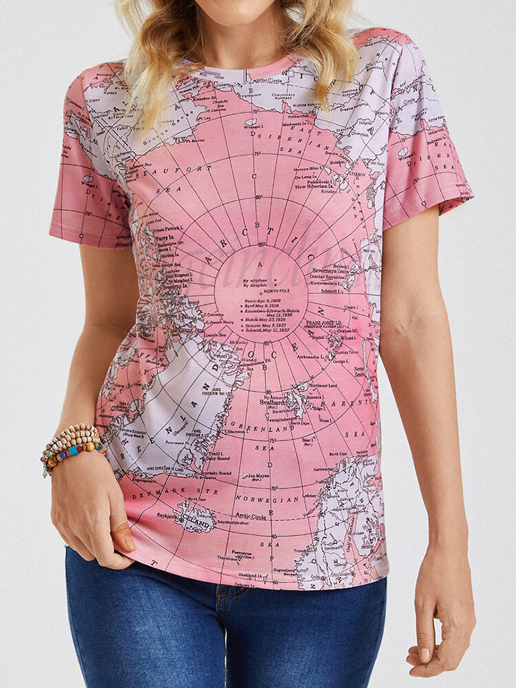 Short Sleeve Map Print O-neck Casual T-Shirt For Women