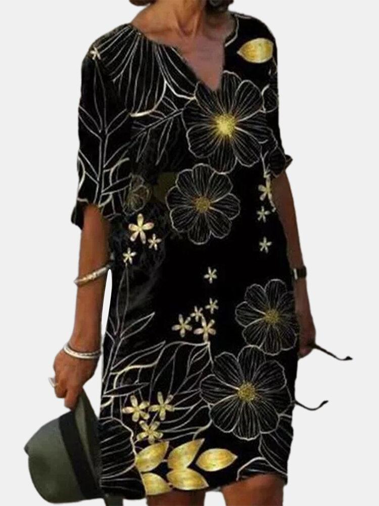 Floral Print 3/4 Sleeve V-neck Vintage Dress For Women