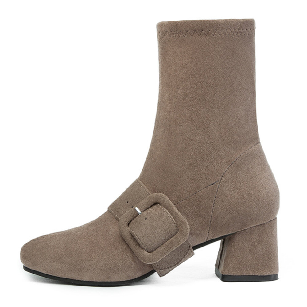 Buckle Decoration Slip On Square Heel Boots