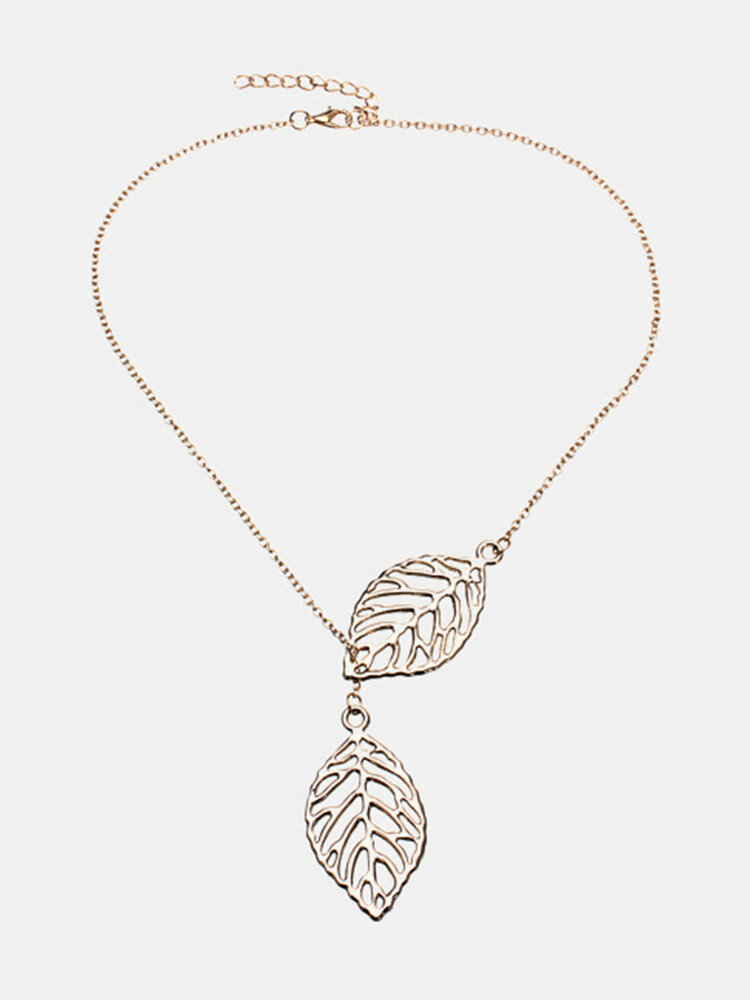 Gold Silver Plated Two Leaves Pendant Necklace
