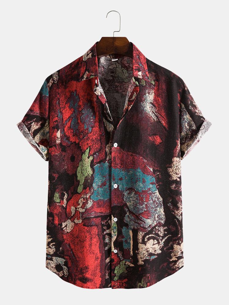 Chemises à manches courtes boutonnées à imprimé abstrait pour hommes
