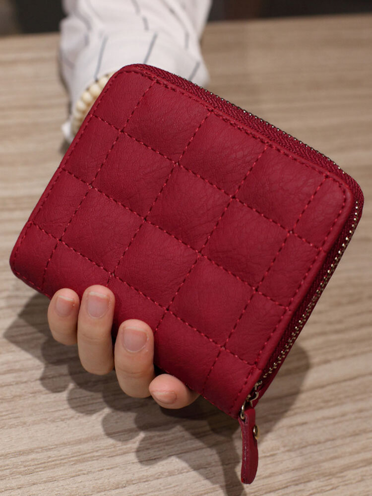 Women PU Leather Quilted Bag Money Clips Multi-card Slots Coin Purse Wallet