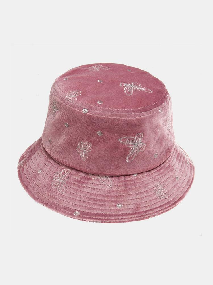 महिलाओं की कढ़ाई तितली पैटर्न प्रिंट आरामदायक Soft आउटडोर यात्रा बाल्टी टोपी