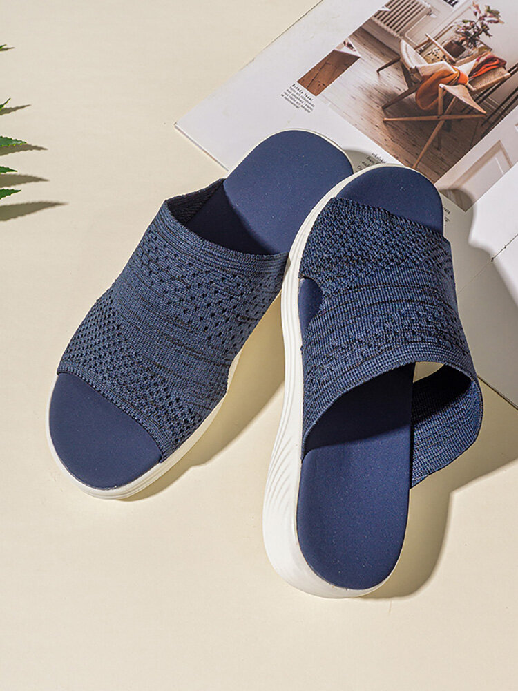 Women Large Size Solid Color Knitted Breathable Casual Wedges Slippers