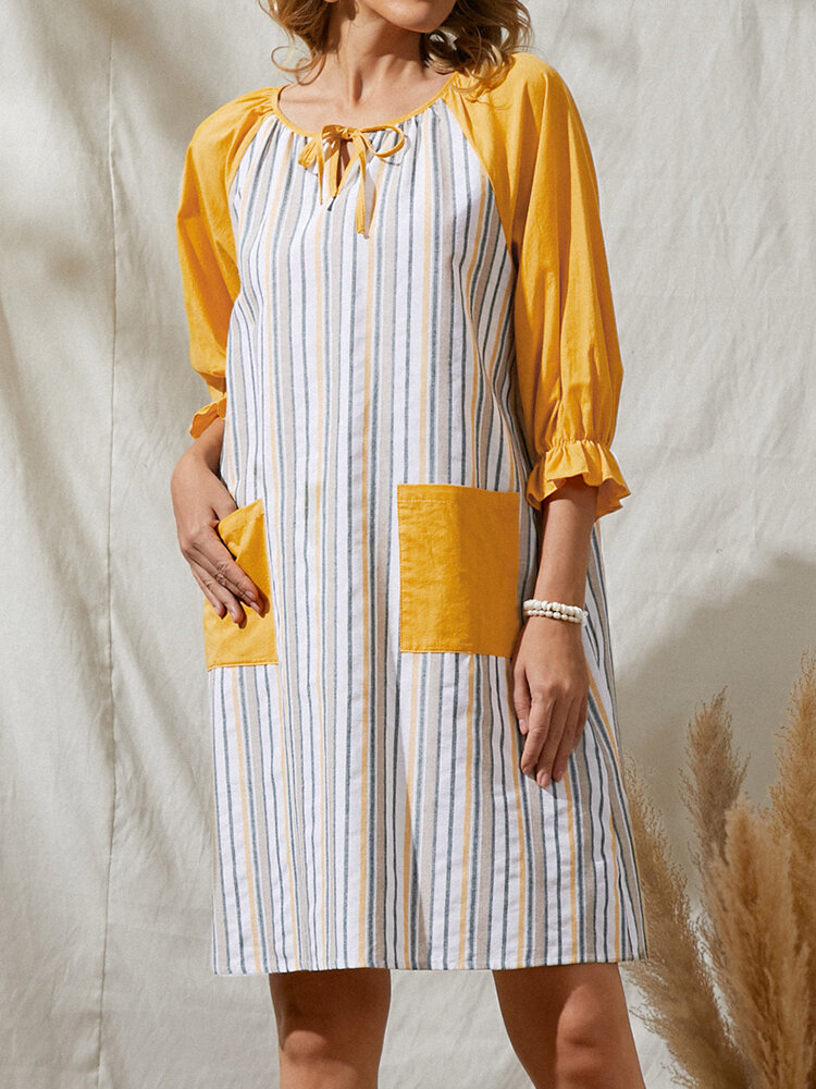 Stripe 3/4 Length Sleeve O-neck Knotted Casual Dress with Pockets