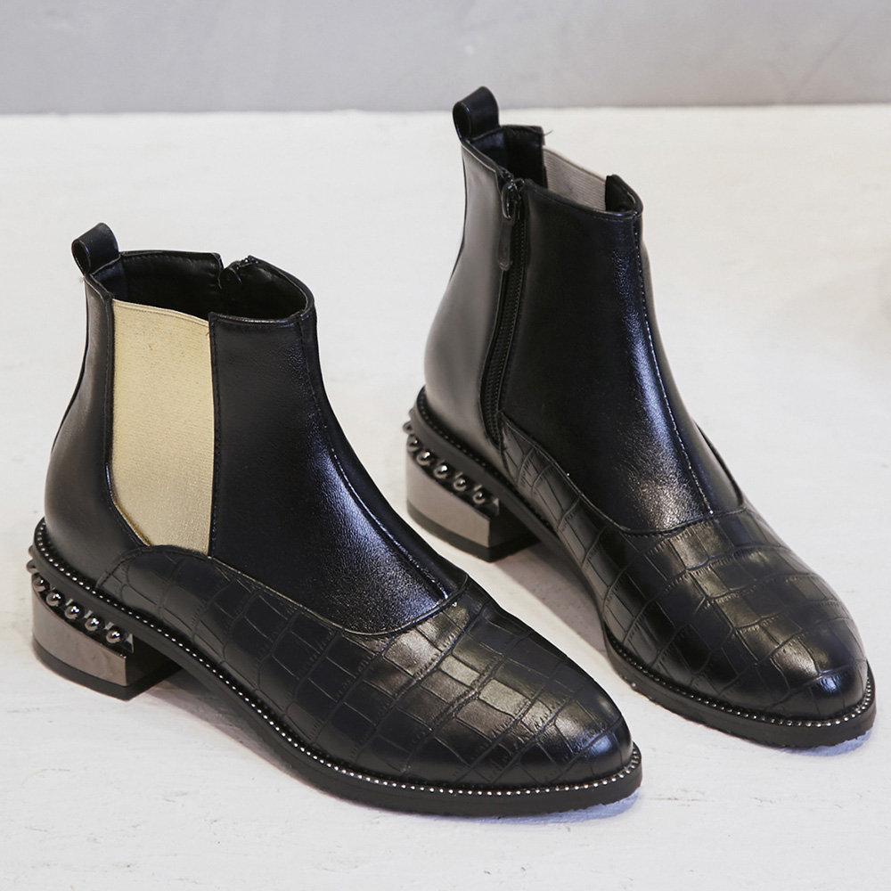 Splicing Crocodile Pattern Chelsea Boots