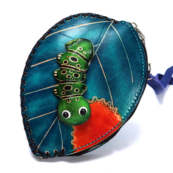 Genuine Leather Leaf Insect Cartoon Personalized Wallet Coin Purse For Women