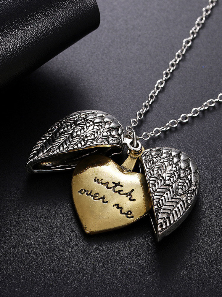Trendy Engraved Letter Heart Pendant With Openable Heart-shaped Wings Double-layer Alloy Necklace
