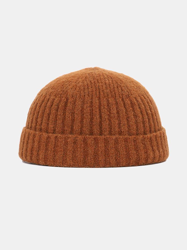 Hommes Femmes Couleur Unie Tricoté Chapeau De Laine Crâne Cap Bonnet Brimless Chapeaux