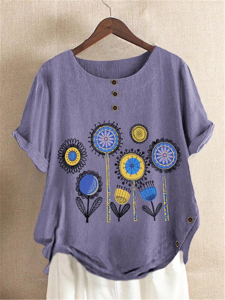 Casual Cartoon Flower Printed Short Sleeve O-Neck Side Button T-shirt