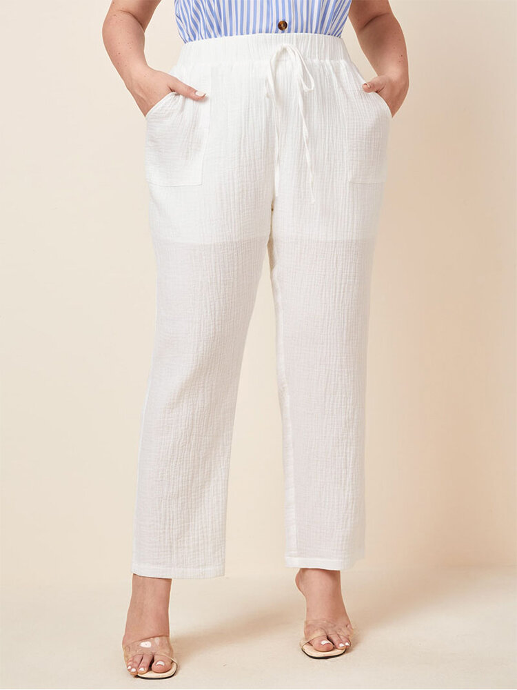 Casual Solid Color Elastic Waist Drawstring Plus Size Pants with Pockets