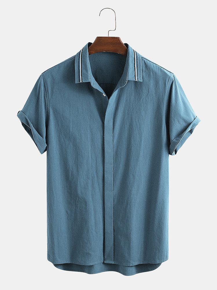 قميص رجالي 100٪ قطن سادة اللون مخفي بإبزيم للعطلات