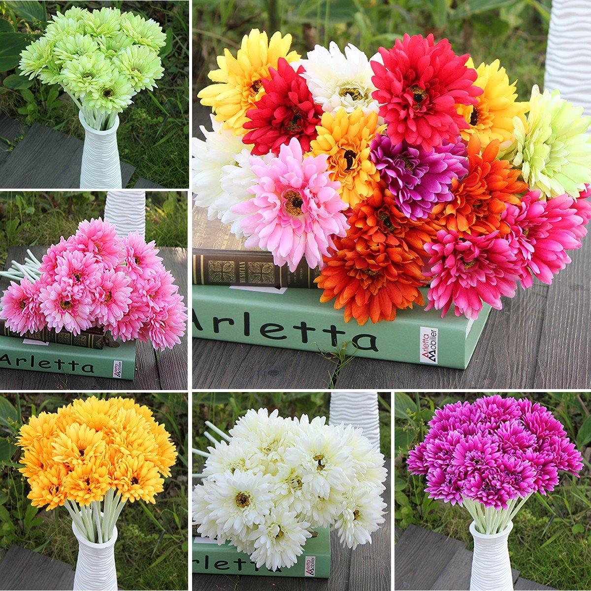 10PCS Sunbeam Gerbera Artificial Flower Daisy Bridal Bouquet Wedding Party Home Decor