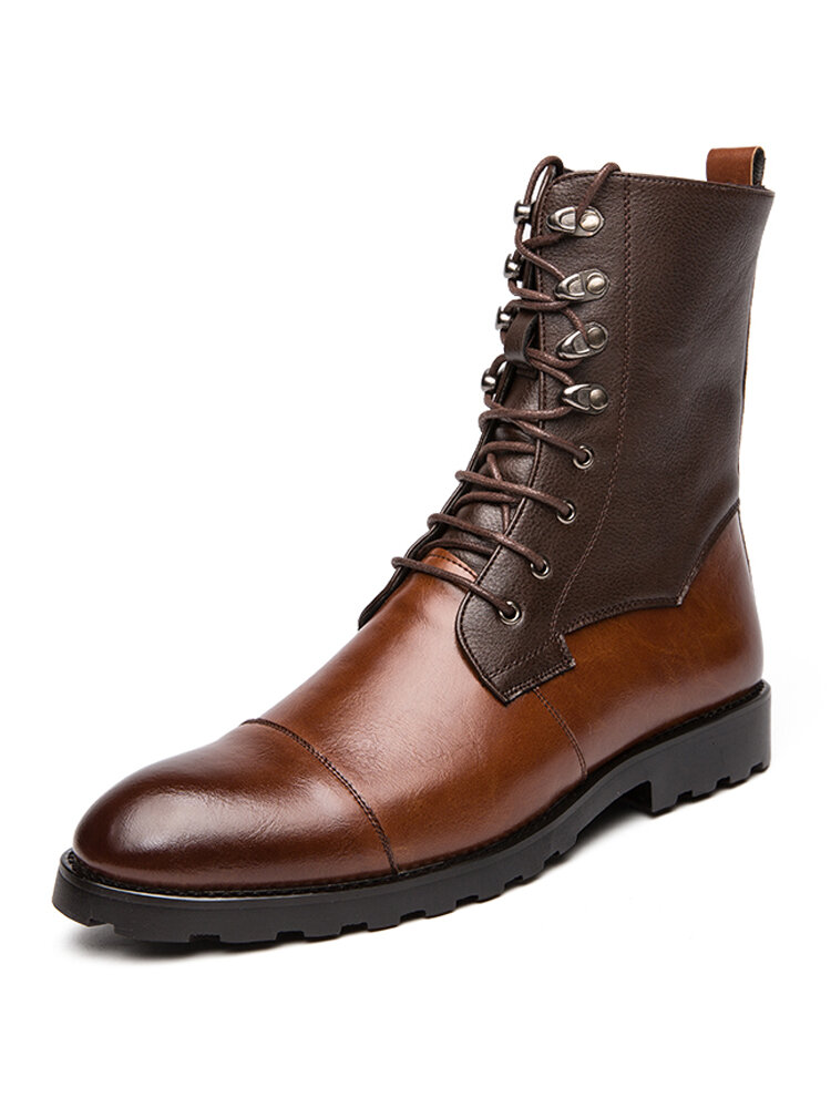Men High Top Lace-up Cowboy Synthetic Leather Antislip Rubber Outsole Wear-Resistant Boots