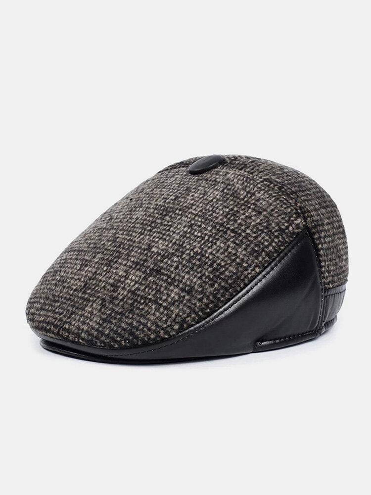Men Woolen PU Patchwork Knitted Fine Lattice Pattern Hidden Ear Protection Casual Warmth Beret Flat Cap