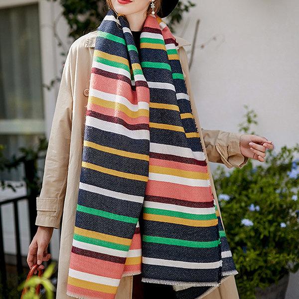 Women's Winter Poncho Vintage Multicolor Stripes Scarves Blanket Cashmere Shawl Scarf