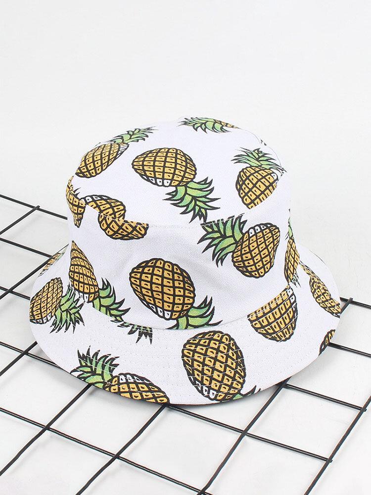 Women Banana Pineapple Fruit Printed Summer Bucket Hats Casual Sunshade Fisherman Sun Caps