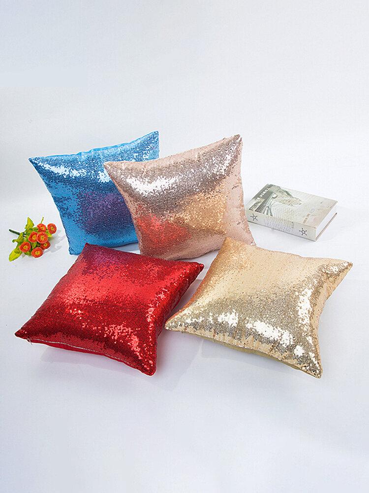 Sequins Fashion Cushion Cover Cotton Linen Pillow Case, Sky blue;black