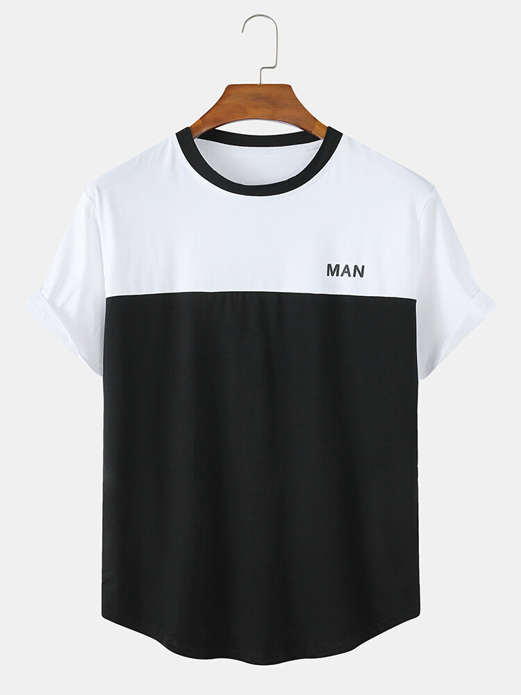 Mens Patchwork Print Simple Casual Light Summer O-Neck T-Shirts