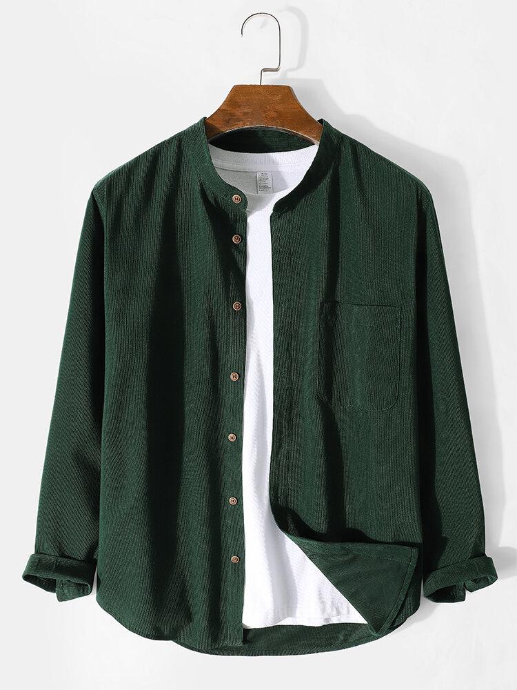 メンズベーシックスタイル無地ボタンアップ長袖シャツ