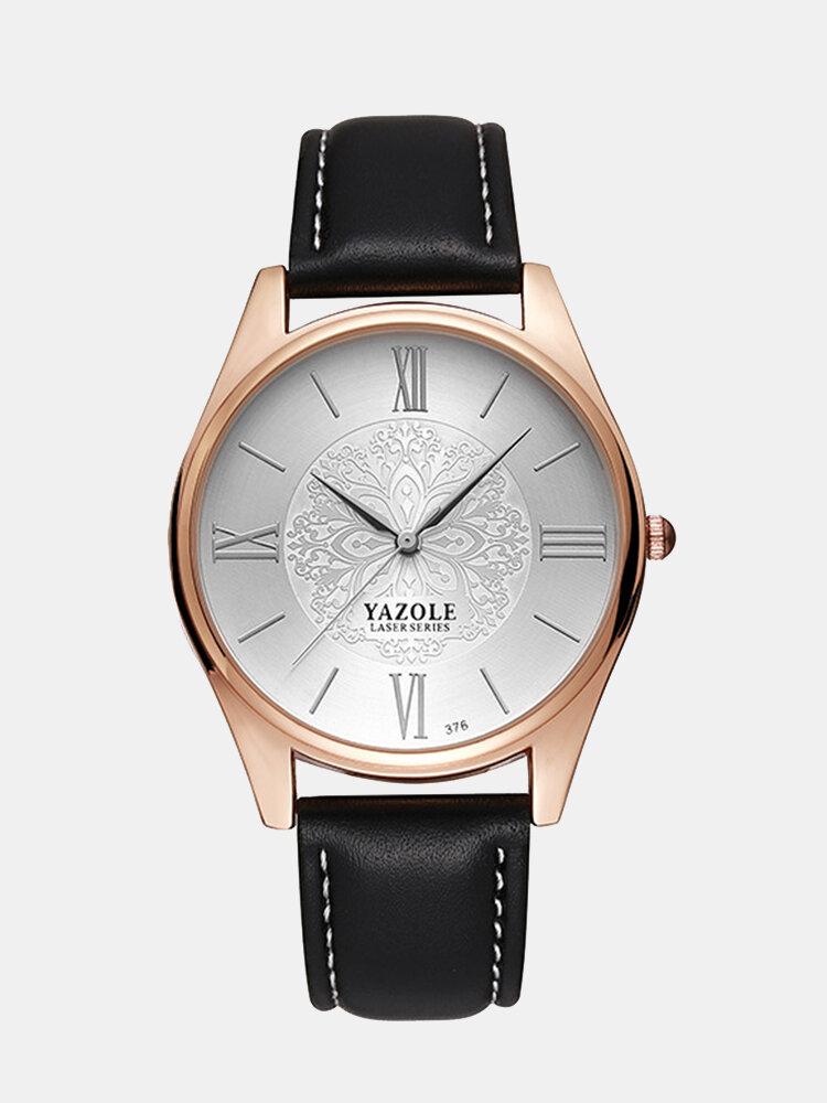 YAZOLE Minimalist Watches Luxury Decorative Pattern Leather Quartz Wristwatch Gift for Men