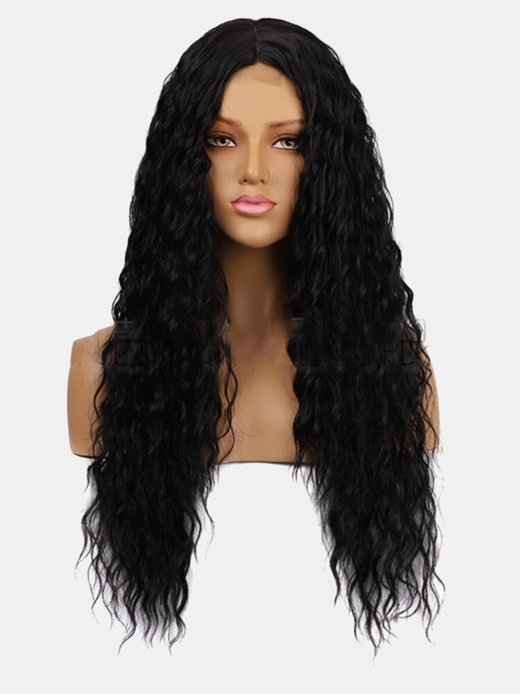3 Colors Front Lace Long Curly Hair Gradient Middle Part High Temperature Fiber Wig