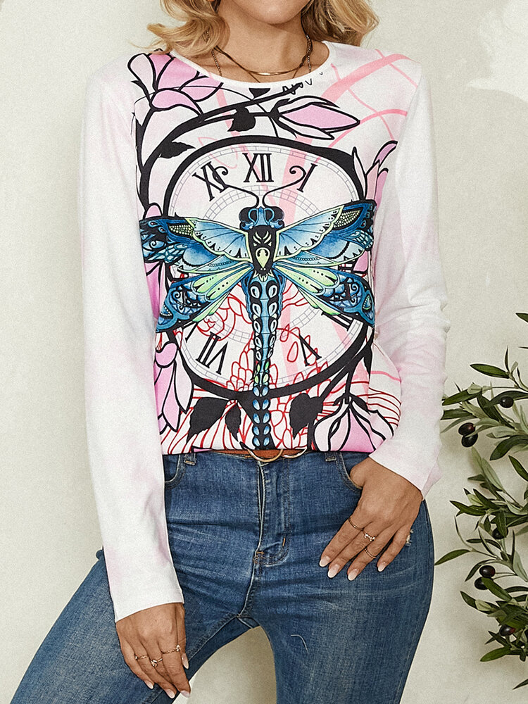 Dragonfly Floral Print O-neck Long Sleeve Casual T-shirt for Women