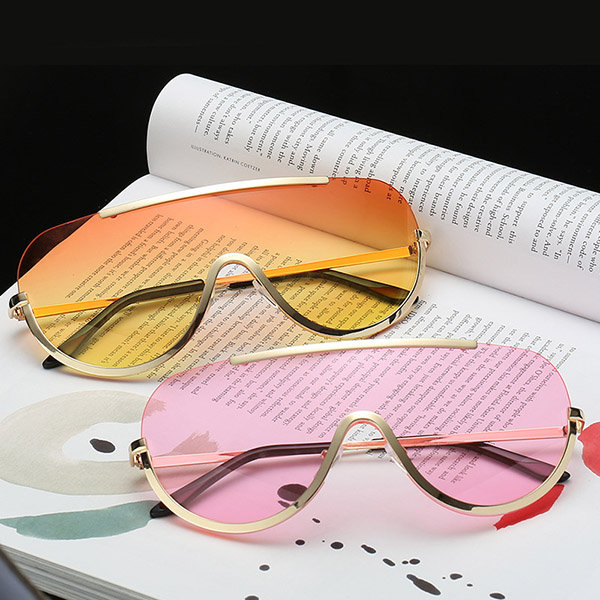 Oversized Clear Lens UV400 Sunglasses One Lens Half Frame Sun Glasses For Women And Men