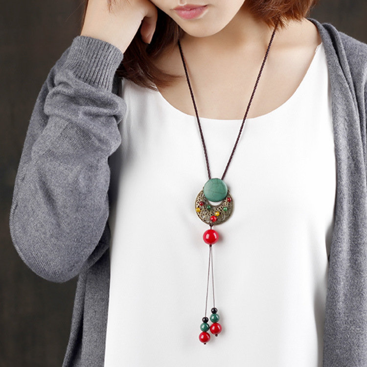 Ethnic Vintage Agate Hollow Moon Turquoise Jade Casual Shirts Sweater Long Necklace for Her
