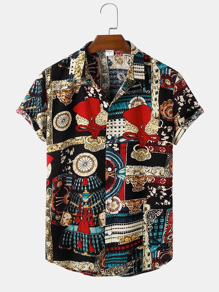 Chemises à manches courtes boutonnées à motif vintage pour hommes