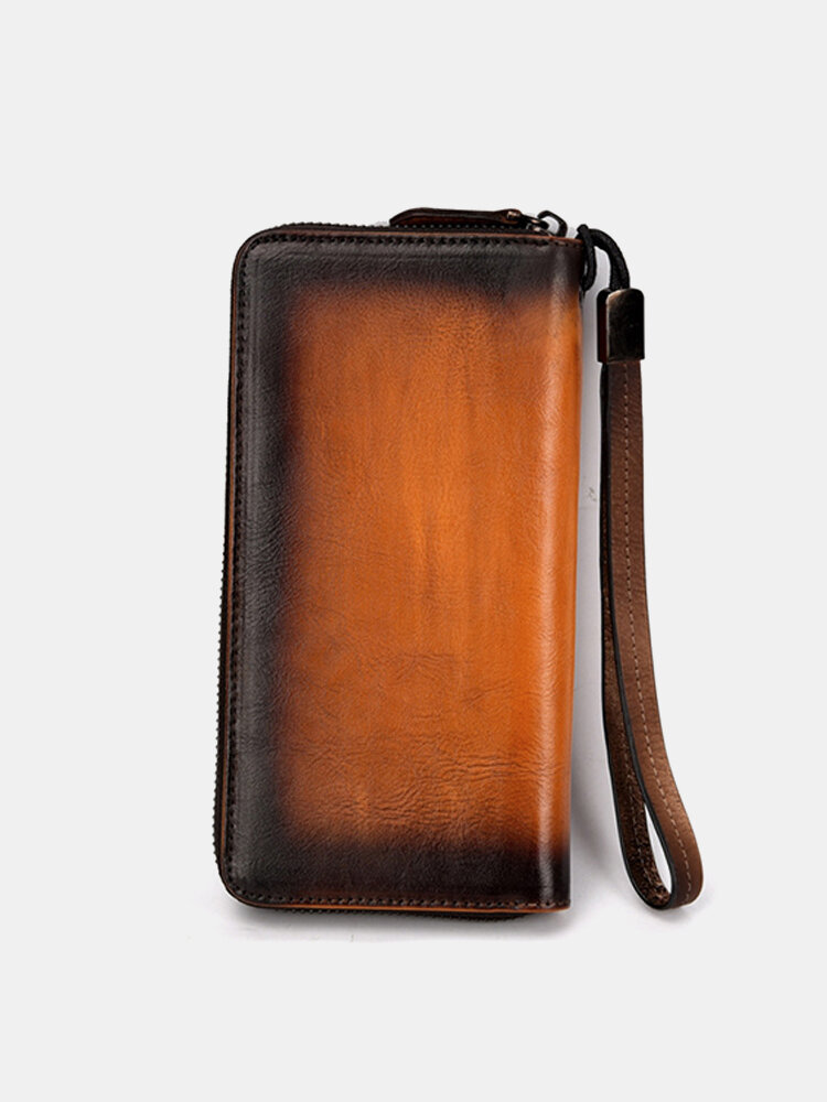 Men And Women Vintage Hand Brush Color Wallet Cow Leather Clutch Bag