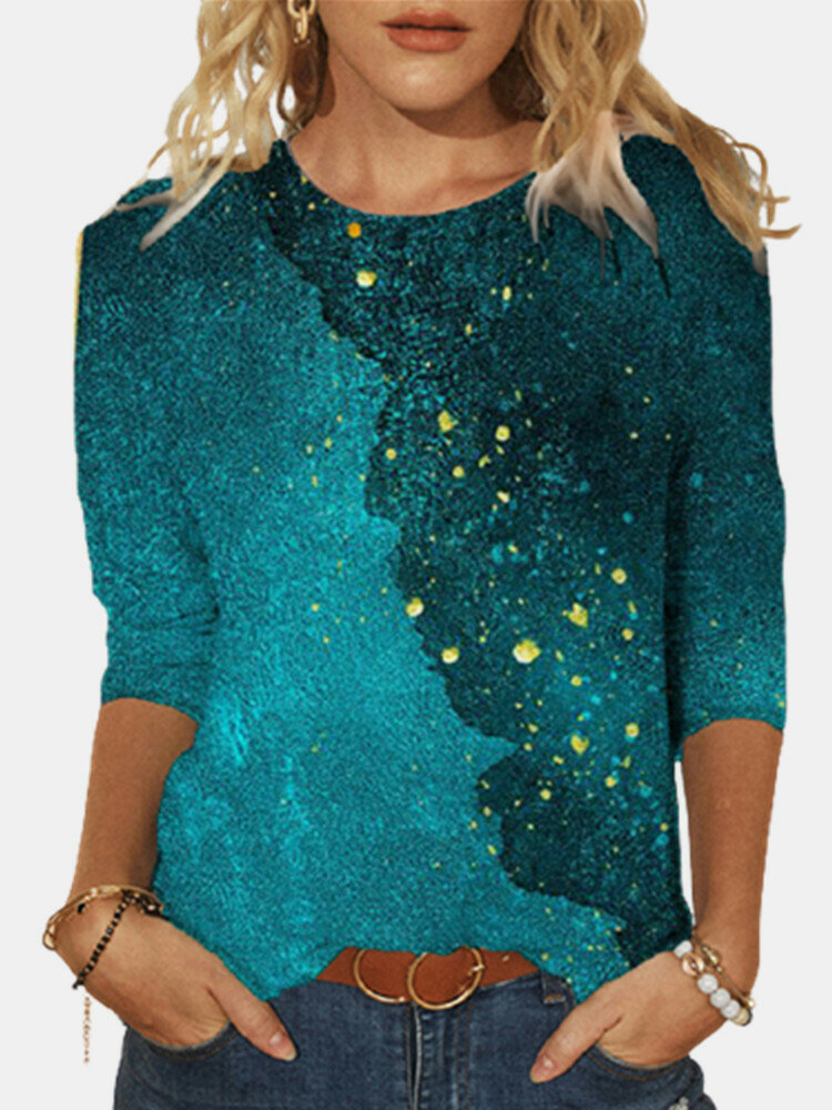 Casual Print O-neck Long Sleeve Plus Size Cotton T-shirt for Women