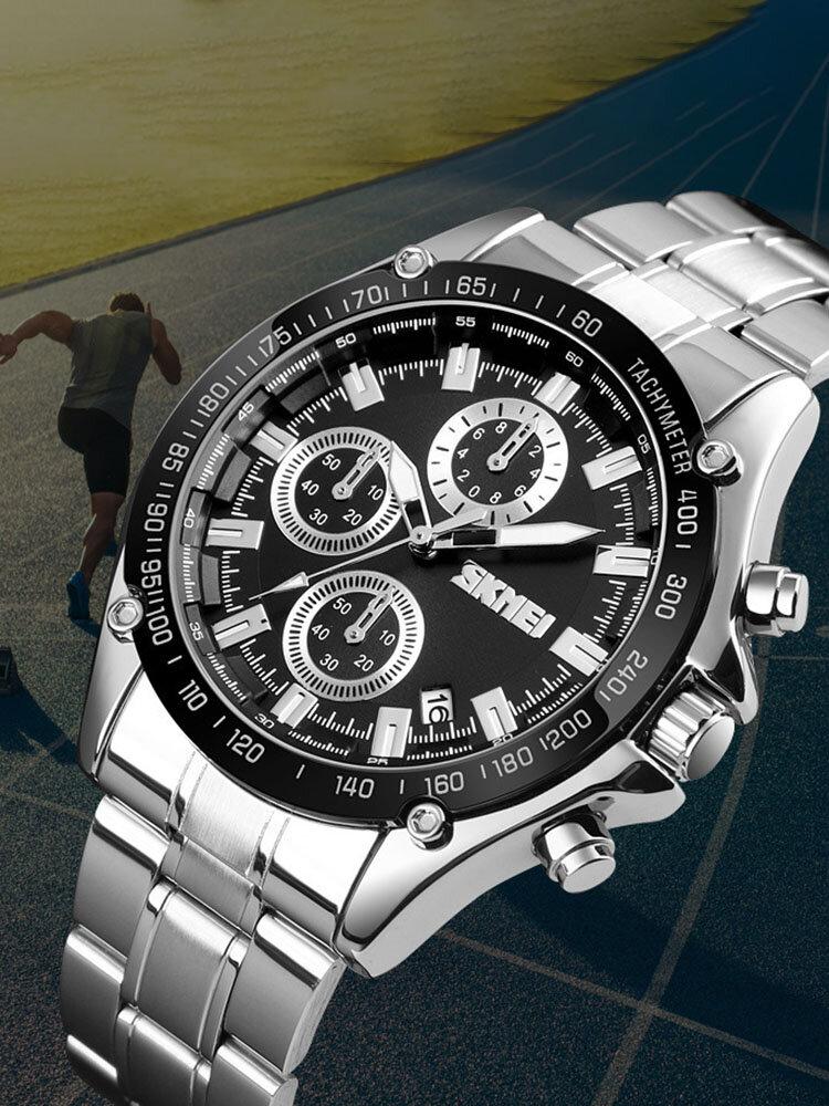 Stainless Steel Band Mens Watch Running Seconds Chronograph Waterproof Business Quartz Watch