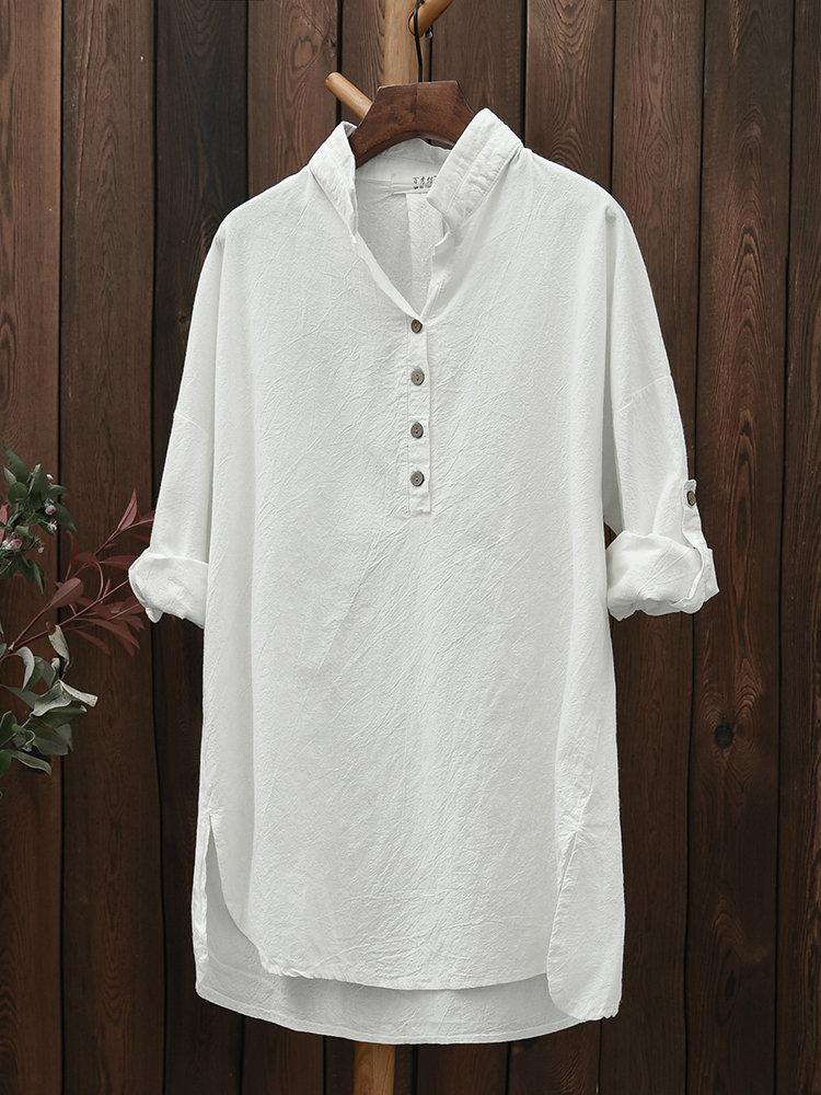 Casual Women Solid Lapel Long Sleeve High Low Shirt - Newchic