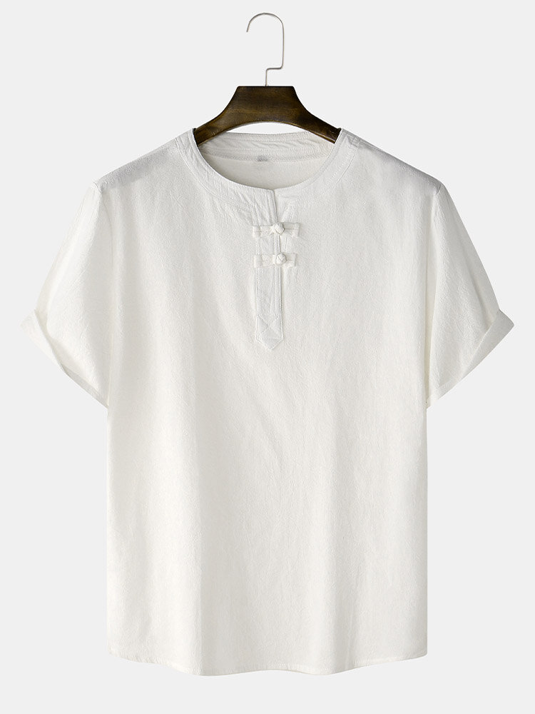 Mens Cotton Linen Chinese Frog Button Solid Loose Half Sleeve T-Shirts