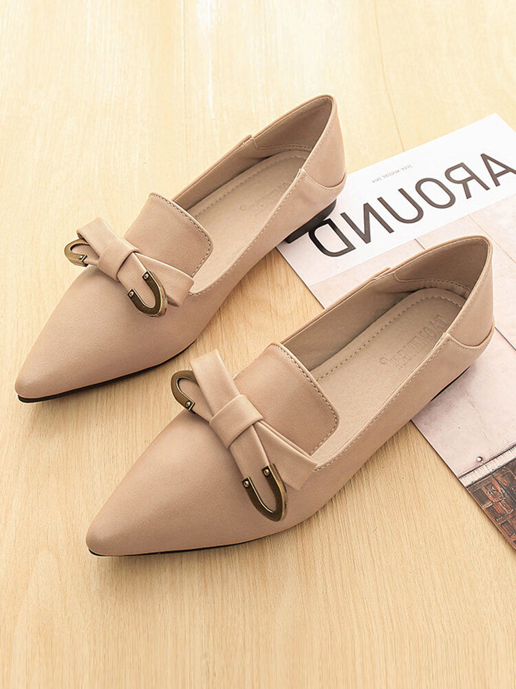 Women Solid Bowknot Flats Elegant Loafers Shoes