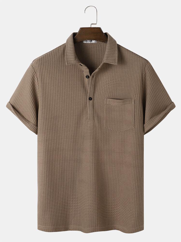 Mens Knitted Basics Solid Color Short Sleeve Golf Shirt