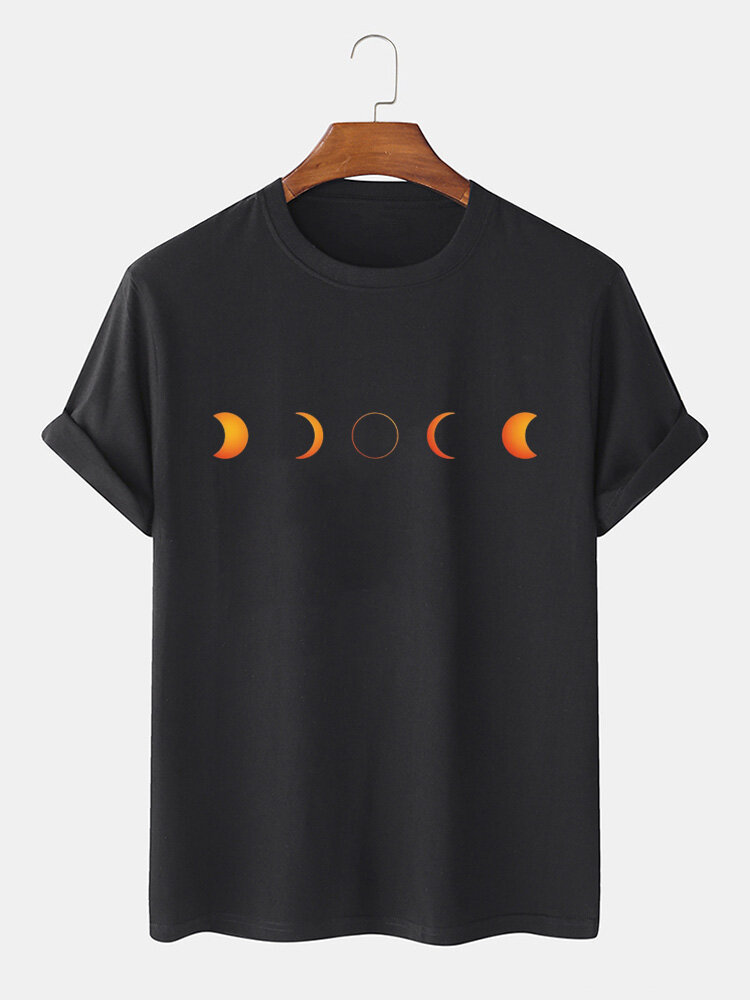 Mens Solid Color Moon Pattern Print Cotton Loose Light O-Neck T-Shirts