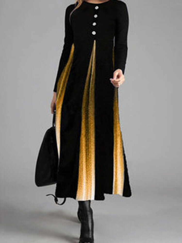 Ombre Long Sleeve O-neck Patchwork Dress For Women